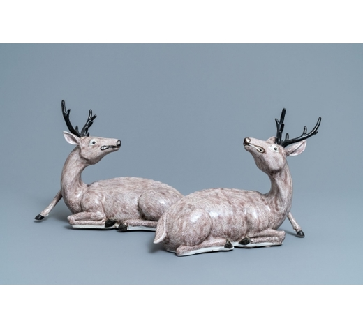 Rob Michiels AuctionsA pair of large Chinese aubergine-glazed models of recumbent deer, 18/19th C.