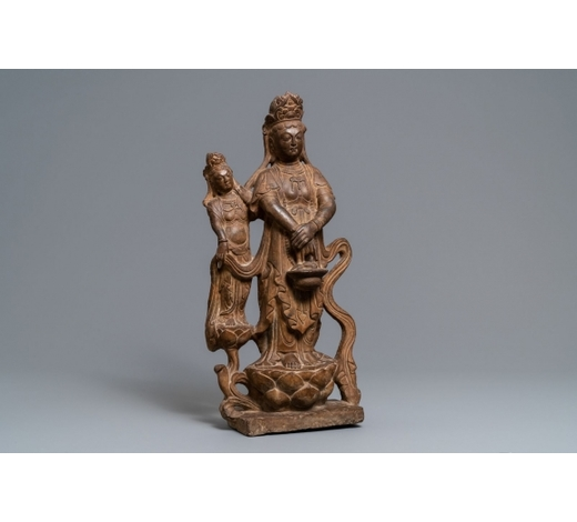 Rob Michiels AuctionsA Chinese carved stone 'Guanyin and attendant' group, Ming/Qing