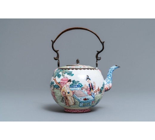 Rob Michiels AuctionsA Chinese Canton enamel kettle with figures in a garden, Yongzheng