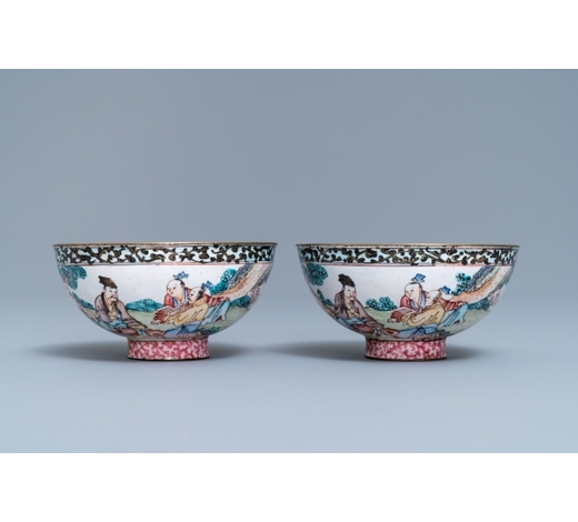 Rob Michiels AuctionsA pair of Chinese Canton enamel bowls with figures in a landscape, Yongzheng/Qianlong