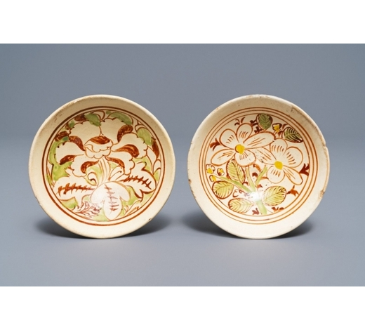 Rob Michiels AuctionsTwo Chinese polychrome Cizhou bowls with floral designs, Jin/Yuan