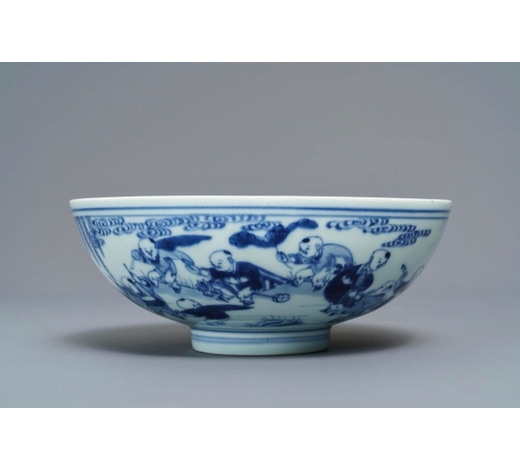 Rob Michiels AuctionsA Chinese blue and white 'playing boys' bowl, Yongzheng mark and of the period