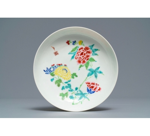 Rob Michiels AuctionsA Chinese famille rose 'boneless style' saucer dish, Yongzheng mark and of the period