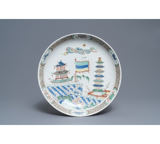 Rob Michiels AuctionsA Chinese famille verte 'pagoda and temple' charger, Kangxi