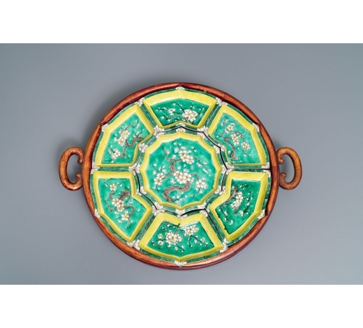 Rob Michiels AuctionsA Chinese verte biscuit sweetmeat set on wooden tray, Kangxi