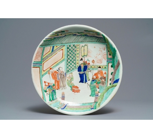 Rob Michiels AuctionsA Chinese famille verte charger with a narrative scene, Kangxi