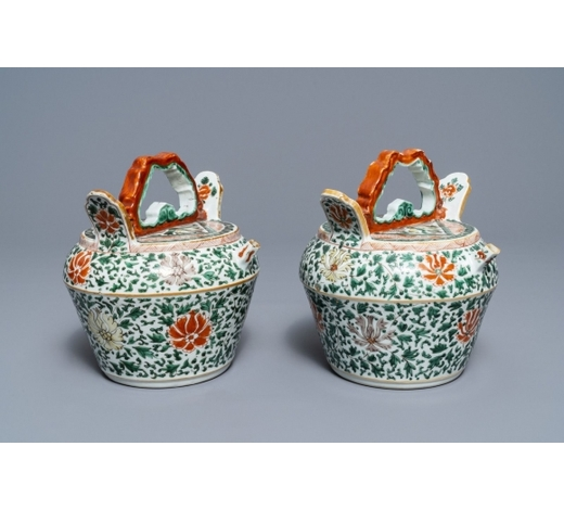 Rob Michiels AuctionsA pair of Chinese famille verte lime pots for the Vietnamese market, Kangxi
