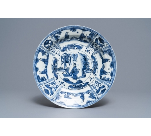 Rob Michiels AuctionsA Chinese blue and white kraak porcelain dish with figures in a landscape, Transitional period