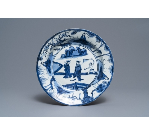 Rob Michiels AuctionsA Chinese blue and white kraak porcelain dish with figures in a landscape, Wanli