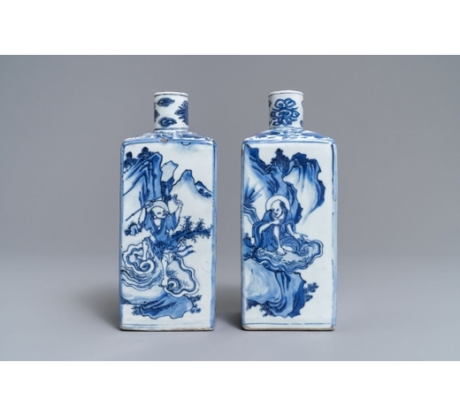 Rob Michiels AuctionsA pair of square Chinese blue and white 'immortals' tea caddies, Wanli