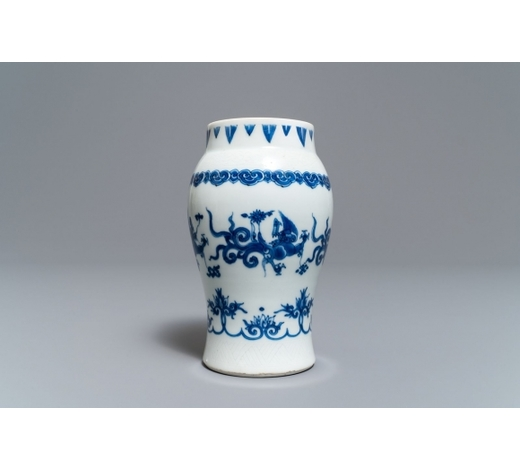 Rob Michiels AuctionsA Chinese blue and white 'dragon' vase, Transitional period