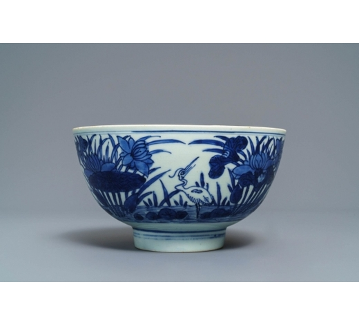 Rob Michiels AuctionsA Chinese blue and white 'cranes by the lotus pond' bowl, Shen De Tang Bo Gu Zhi mark, Transitional period