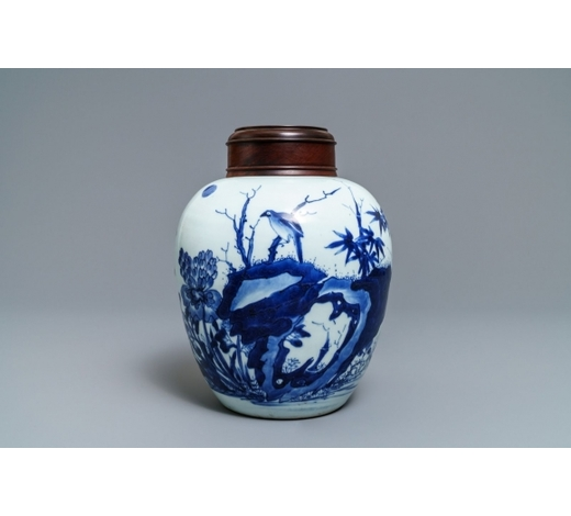 Rob Michiels AuctionsA Chinese blue and white jar with birds among blossoms, Transitional period