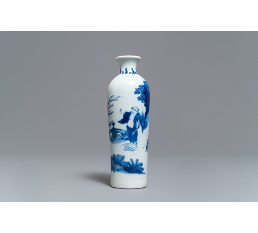 Rob Michiels AuctionsA Chinese blue and white rouleau vase with a figure in a landscape, Transitional period