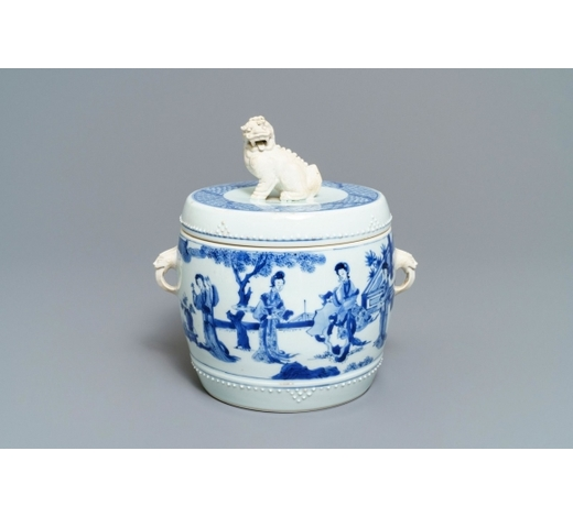 Rob Michiels AuctionsA Chinese blue and white covered bowl with ladies in a garden, Kangxi