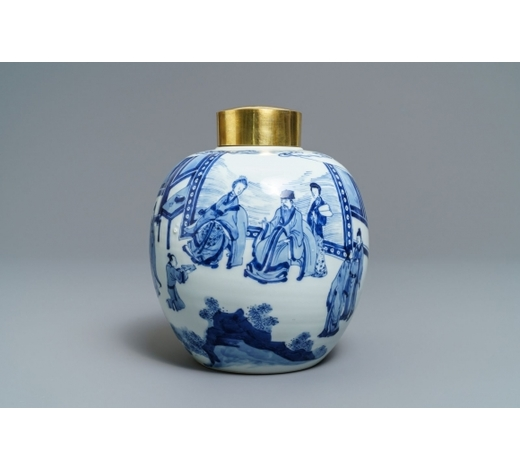 Rob Michiels AuctionsA Chinese blue and white ginger jar with gilt cover, Jiajing mark, Kangxi