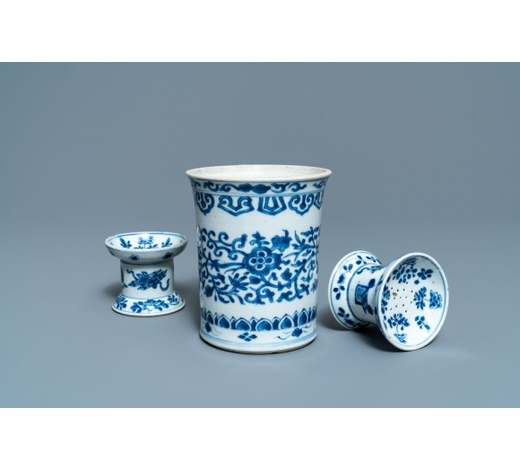 Rob Michiels AuctionsA Chinese blue and white brush pot and a pair of sanders, Kangxi