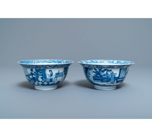 Rob Michiels AuctionsTwo Chinese blue and white klapmuts bowls, Kangxi mark and of the period