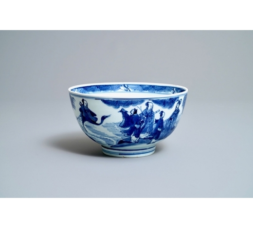 Rob Michiels AuctionsA Chinese blue and white 'Immortals' bowl, Kangxi