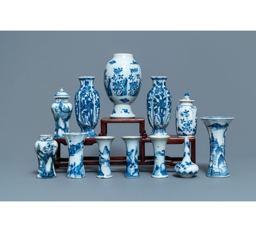 Rob Michiels AuctionsTwelve small Chinese blue and white vases, Kangxi
