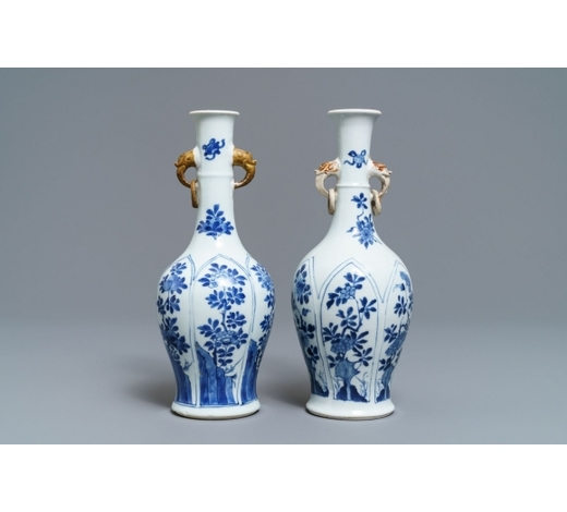Rob Michiels AuctionsA pair of Chinese blue and white vases with parcel-gilt handles, Kangxi