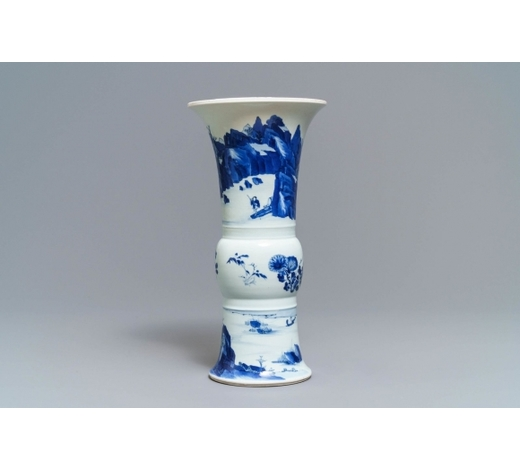 Rob Michiels AuctionsA Chinese blue and white 'gu' vase with landscape design, Kangxi mark and of the period