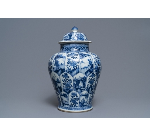 Rob Michiels AuctionsA Chinese blue and white baluster jar and cover, Kangxi