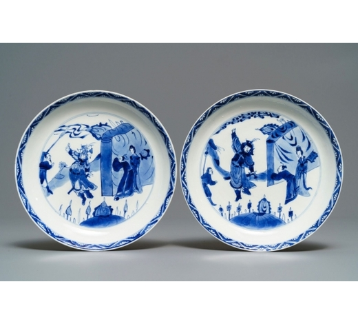 Rob Michiels AuctionsA pair of Chinese blue and white plates, Chenghua mark, Kangxi