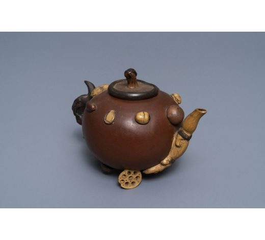 Rob Michiels AuctionsA Chinese Yixing stoneware relief-decorated teapot with nuts and fruits, Shao Er Quan mark, Daoguang