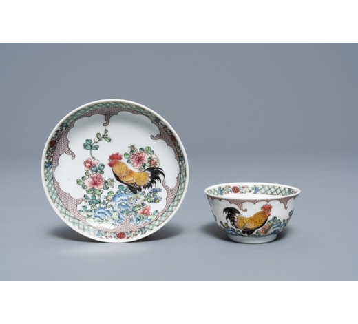 Rob Michiels AuctionsA fine Chinese famille rose 'rooster' eggshell cup and saucer, Yongzheng