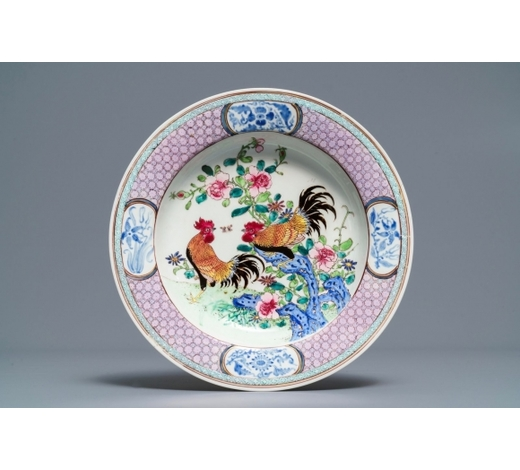 Rob Michiels AuctionsA fine Chinese famille rose eggshell 'rooster' plate, Yongzheng