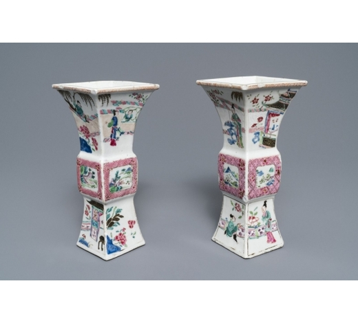 Rob Michiels AuctionsA pair of square Chinese famille rose 'Romance of the Western chamber' vases, Yongzheng