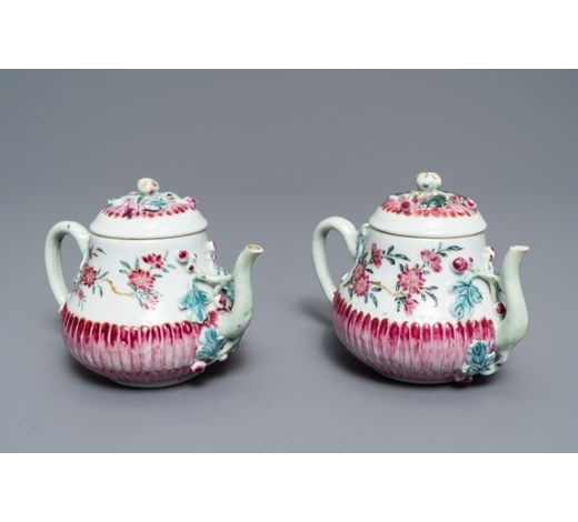 Rob Michiels AuctionsTwo Chinese famille rose relief-moulded 'lotus' teapots and covers, Yongzheng