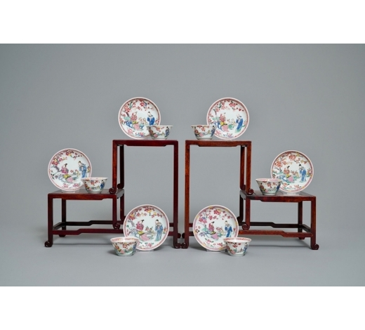 Rob Michiels AuctionsSix Chinese famille rose cups and saucers, Yongzheng