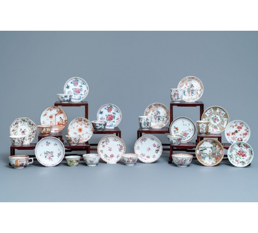 Rob Michiels AuctionsA collection of Chinese famille rose cups and saucers, Yongzheng/Qianlong