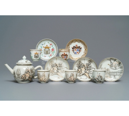 Rob Michiels AuctionsA collection of Chinese famille rose and grisaille tea wares, Yongzheng/Qianlong