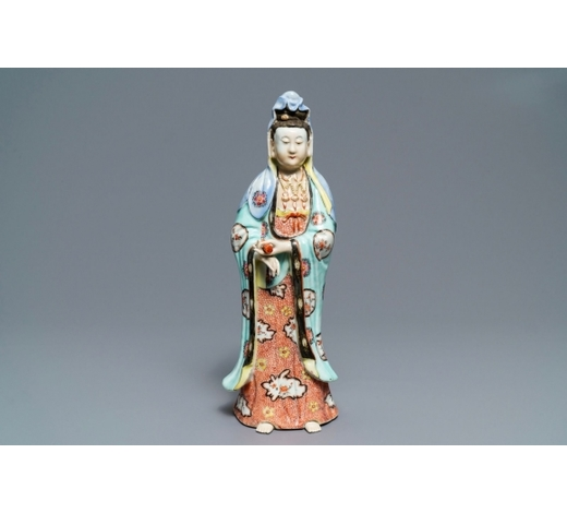 Rob Michiels AuctionsA Chinese famille rose figure of a standing Guanyin, Qianlong