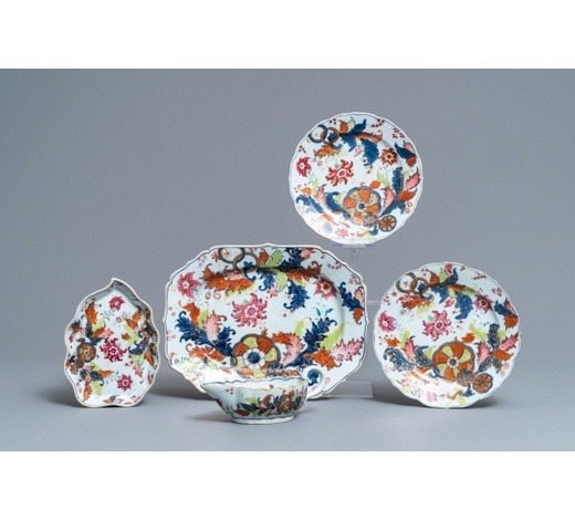 Rob Michiels AuctionsFive pieces of Chinese famille rose 'pseudo tobacco leaf' wares, Qianlong