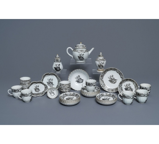 Rob Michiels AuctionsA 37-piece Chinese grisaille 'Jupiter' tea service, Qianlong