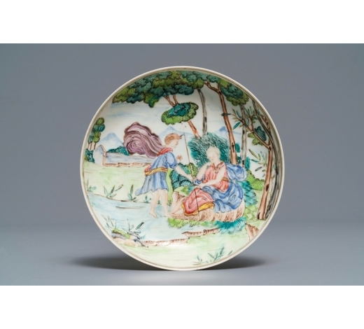 Rob Michiels AuctionsA Chinese famille rose eggshell plate with mythological scene, Qianlong