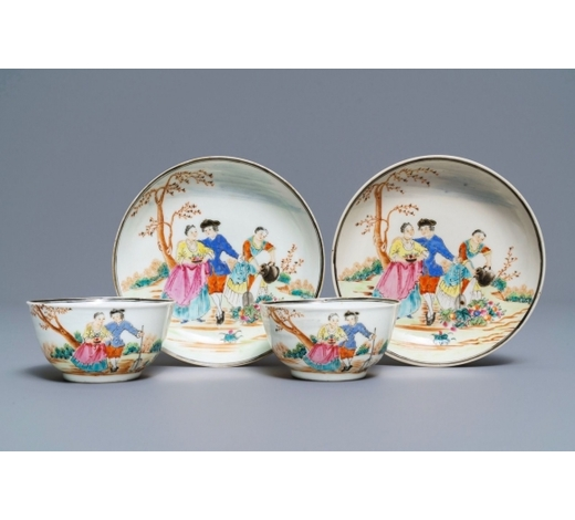 Rob Michiels AuctionsA pair of Chinese famille rose 'European subject' cups and saucers, Qianlong