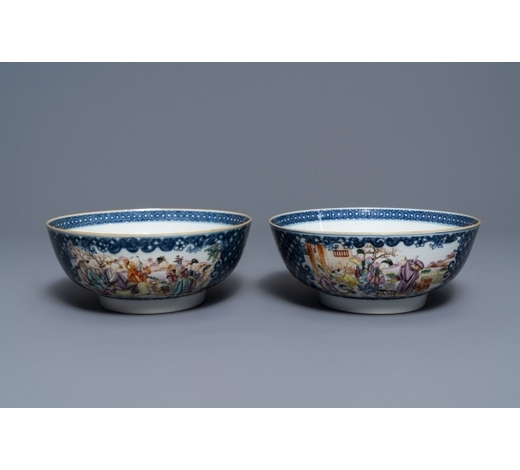 Rob Michiels AuctionsA pair of Chinese famille rose 'mandarin' bowls, Qianlong