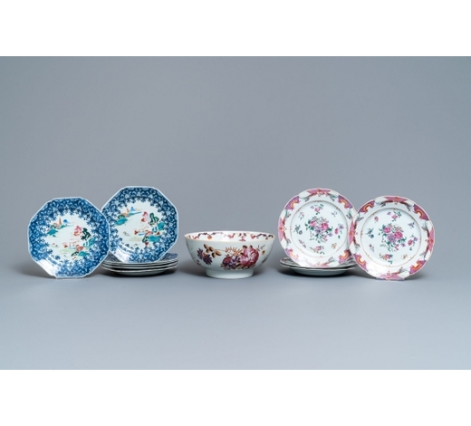 Rob Michiels AuctionsTen Chinese famille rose plates and a bowl, Qianlong