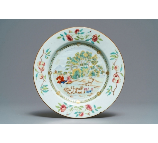 Rob Michiels AuctionsA Chinese famille rose 'shepherds' plate, Qianlong