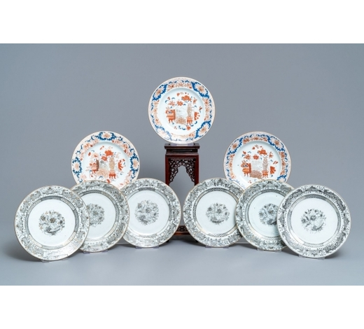 Rob Michiels AuctionsNine Chinese grisaille and Imari-style plates, Yongzheng/Qianlong