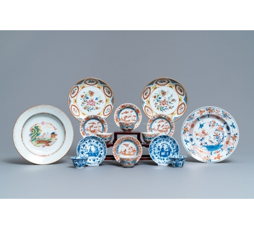 Rob Michiels AuctionsA collection of Chinese blue and white, famille rose and Imari-style porcelain, Kangxi/Qianlong