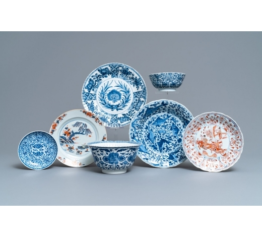 Rob Michiels AuctionsSeven pieces of Chinese blue and white, Imari-style and iron red porcelain, Kangxi/Qianlong