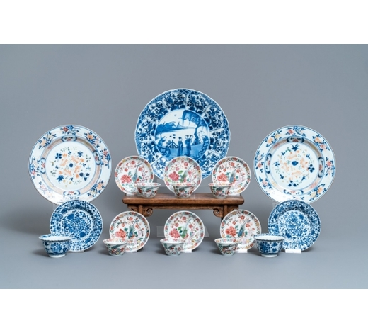 Rob Michiels AuctionsEight Chinese blue and white and famille rose cups and saucers and three plates, Kangxi/Qianlong
