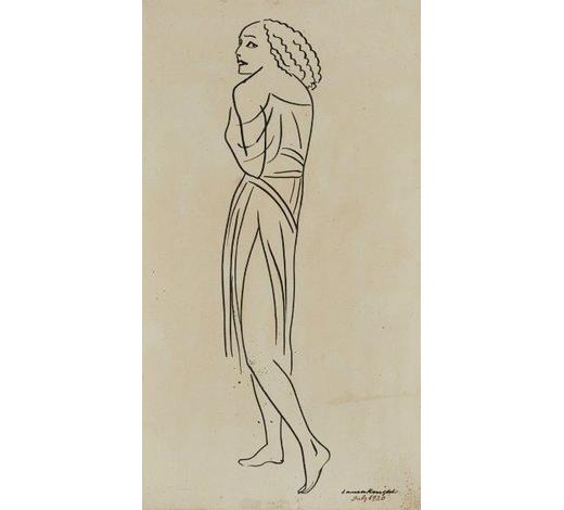 RoseberysDame Laura Knight DBE RA RWS, British 1870-1977- Mme (Anna) Pavlova, 1920; pen and ink on paper, signed and dated, 33x18.5cm(ARR)