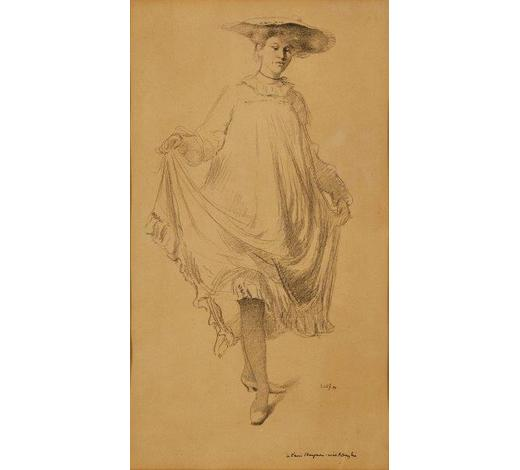 RoseberysSir William Rothenstein,  British 1872-1945-   Lady holding the hem of her dress, 1894;   lithograph on beige laid paper, signed and inscribed in ink, 42x23.5cm